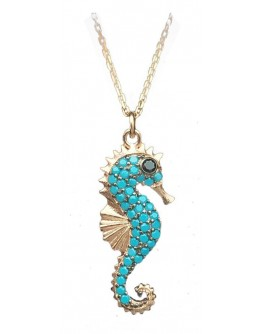 Silver Sea Horse Zircon Pendant